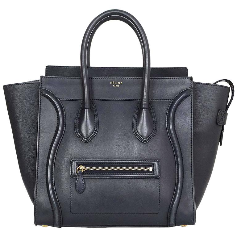 Celine Navy Smooth Leather Mini Luggage Tote Bag For Sale