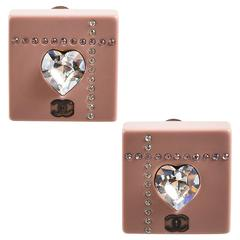Chanel 04A Pink Resin Rhinestone Crystal Heart 'CC' Logo Square Clip On Earrings