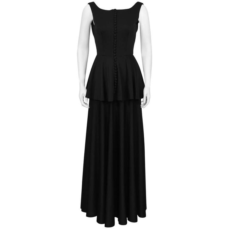 1960's Jean Varon Black Jersey Gown With Peplum