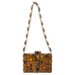 Iradj Moini Brown Gold Tone Tiger's Eye Embellished Hinged Frame Bag