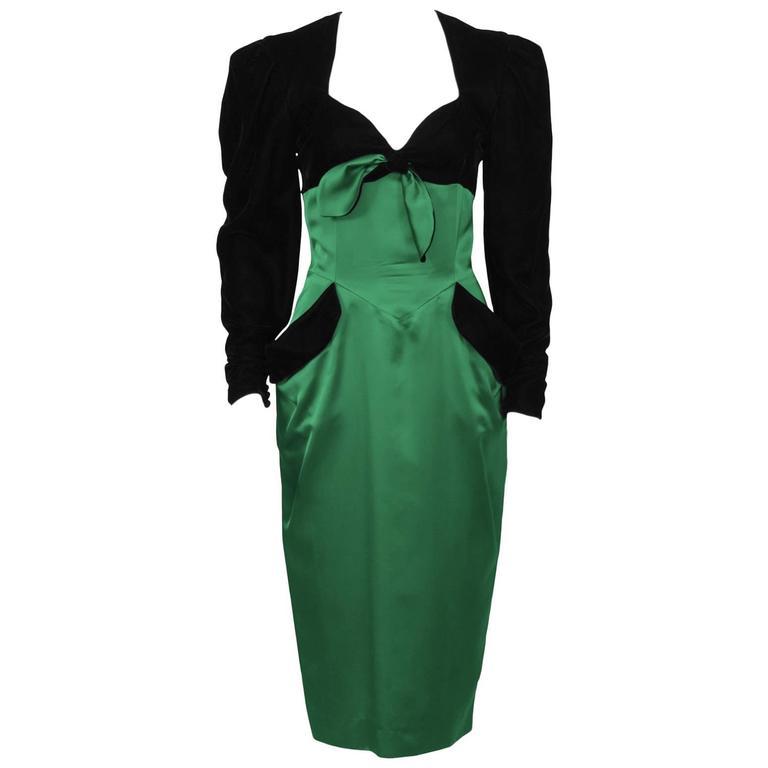 1980's  Isabelle Allard Black Velvet & Emerald Satin Cocktail Dress