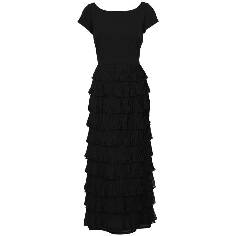 1970's Black Chiffon Tiered Gown For Sale