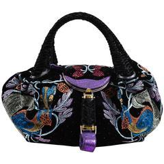 """Fendi Black Purple Velvet Leather Embroidered Limited Edition """"Spy"""" Bag"""