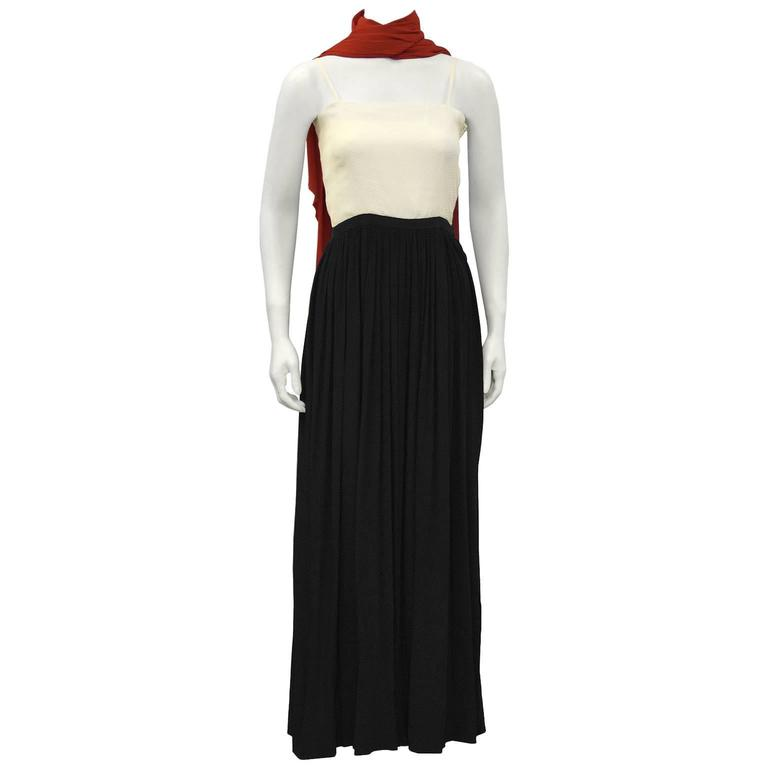 1970's Color Block Silk Jacquard Gown with Scarf
