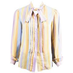 Vintage Salvatore Ferragamo Multicolor Patterned Long Sleeve Silk Blouse SZ 10