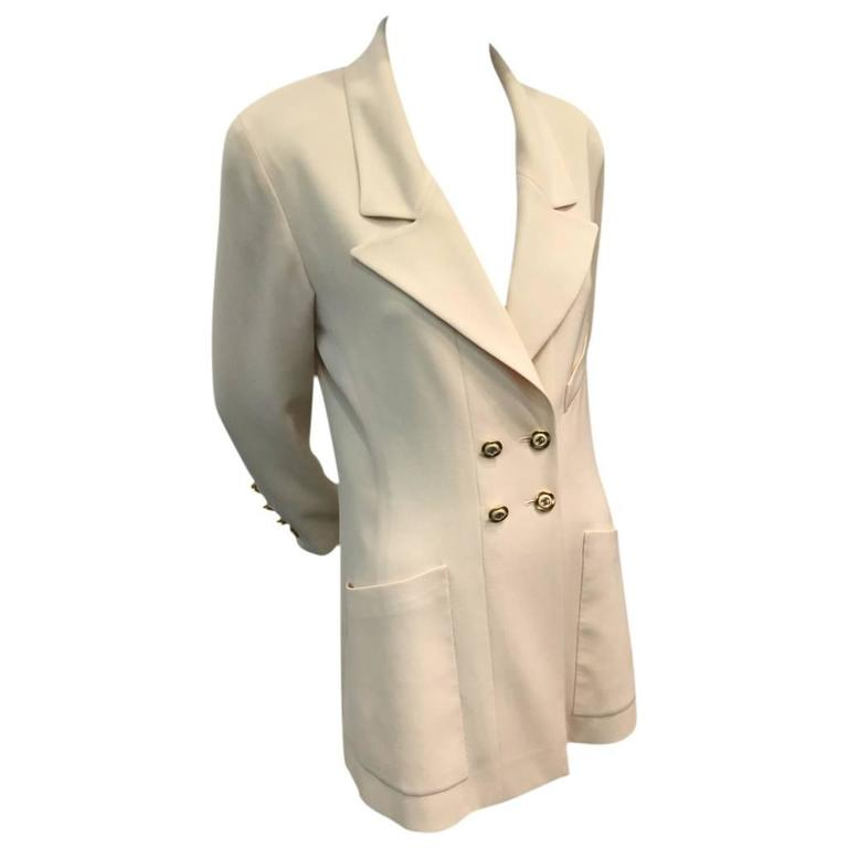 1990s Chanel Cream Double Breasted Jacket with Notched Collar and Logo Buttons