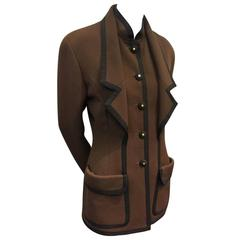 1990s Chanel Tobacco Brown Wool Gabardine Jacket w Grosgrain Trim