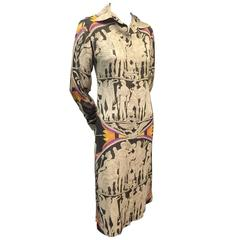 1970s James Galanos Grecian Illustrated Cotton Voile Button Down Dress