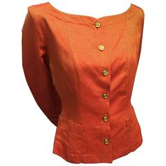 1980s  Yves Saint Laurent Gold/Orange Faille Jacket