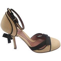 Alaia Straw/Black MaryJane Shoes W/ Bow Detail