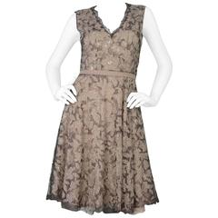 Valentino Beige Floral Lace and Beaded Sleeveless Dress sz Small