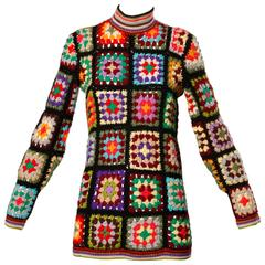 1970s Vintage Adolfo Hand Crochet Wool Granny Squares Tunic Sweater Top