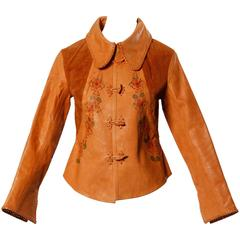 1970s Char Vintage Hand Painted Flowers Whipstitch Leather + Suede Jacket