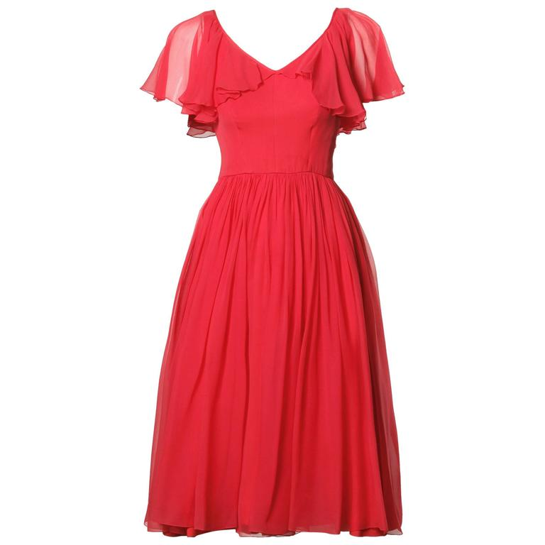 1960s Vintage Coral Silk Chiffon Cocktail Dress with Full Sweep For Sale