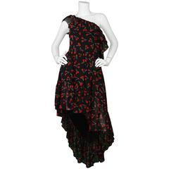 Saint Laurent 2016 Black and Red Silk Cherry Print Dress Sz 40 rt. $3,79