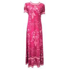 1960s Averardo Bessi Pink Silk Jersey Printed Dress