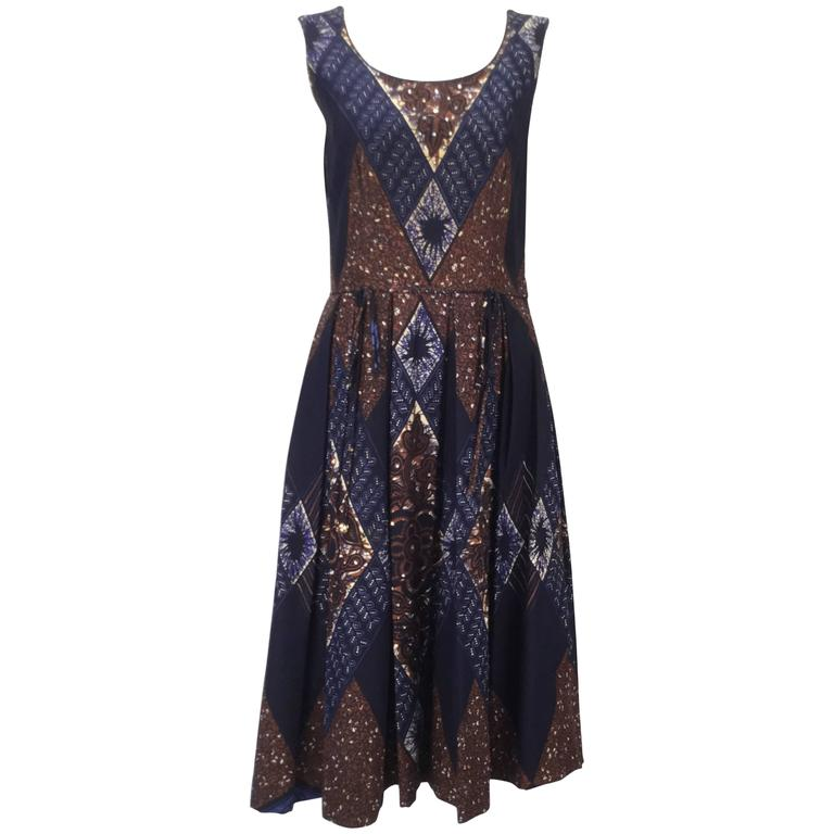 Ikat Blue and Brown Dress with Subtle Sequin Handwork, 1950s