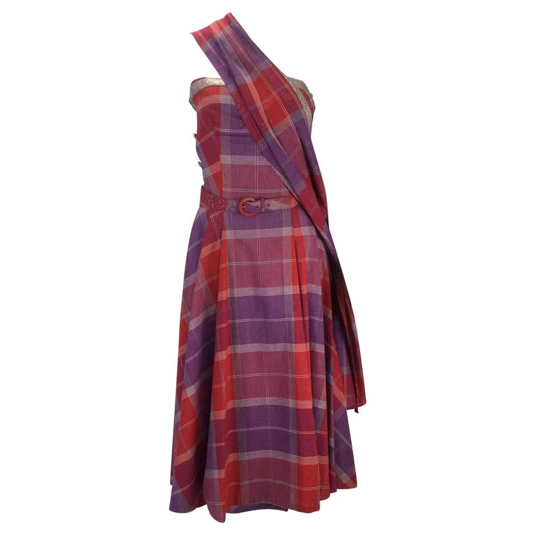 1940s Tina Leser Cotton Madras Dress With Sash 1