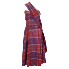 1940s Tina Leser Cotton Madras Dress With Sash