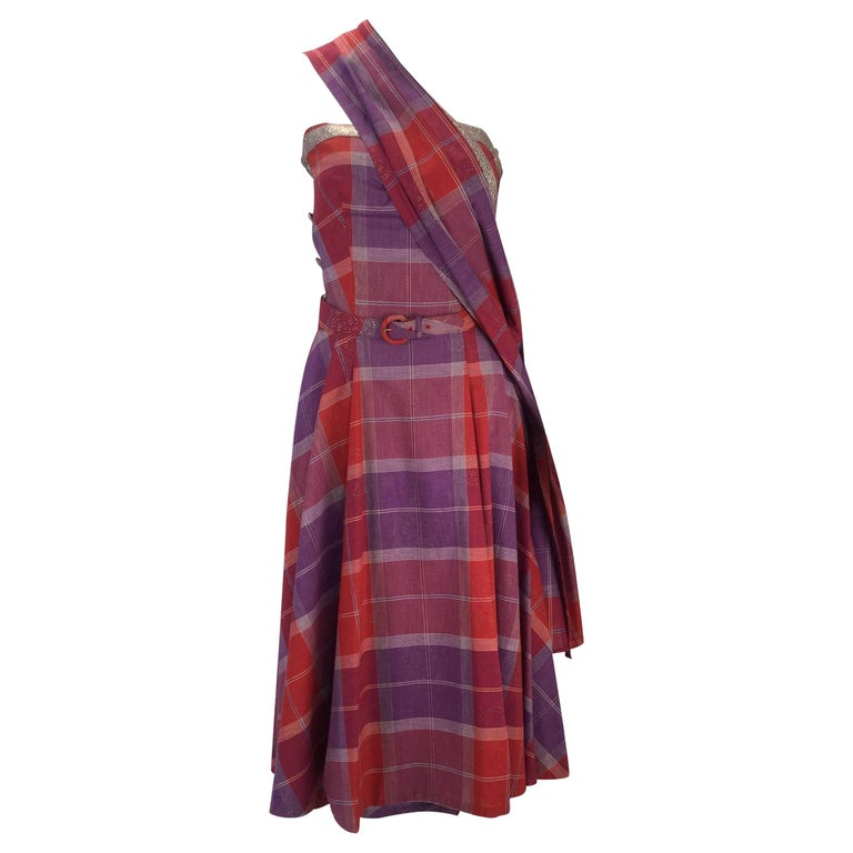 1940s Tina Leser Cotton Madras Dress With Sash For Sale