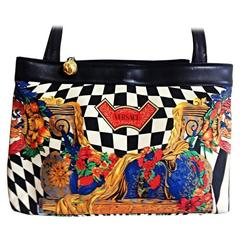 Vintage Gianni Versace shoulder tote bag with print of chess, flower, gold, blue