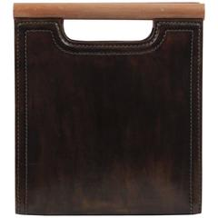 FENDI VINTAGE Brown Leather HANDBAG Tote w/ WOOD Handle REDWALL Patented