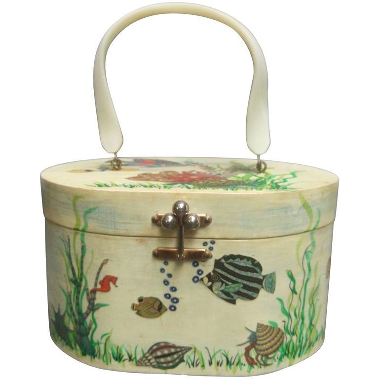 Whimsical Sea Life Decoupage Box Purse by Billie Ross of Palm Beach