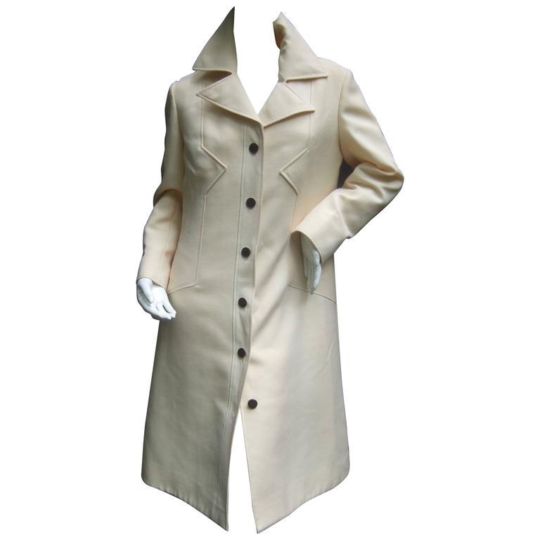 Pierre Cardin Creme Wool Car Coat. 1960's.