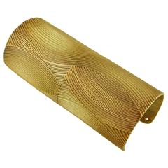Krizia Vintage Huge Geometric Design Gold Tone Gladiator Style Cuff Bracelet