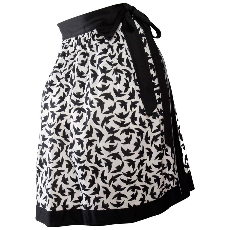 Iconic 80s Yves Saint Laurent Bird Print Wrap Skirt  For Sale