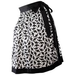 Iconic 80s Yves Saint Laurent Bird Print Wrap Skirt