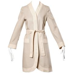 Don Simonelli Vintage Neutral Minimalist Linen Coat and Sash
