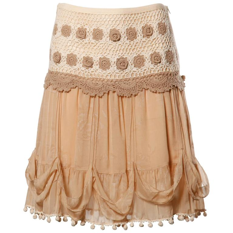 Blumarine Nude Silk Skirt with Crochet + Pom Pom Detail