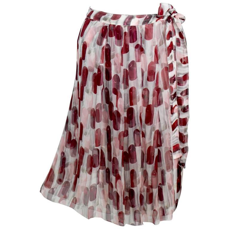 b2b84e2fff80 Prada Lipstick Print Silk Wrap Skirt Spring 2000 Runway at 1stdibs