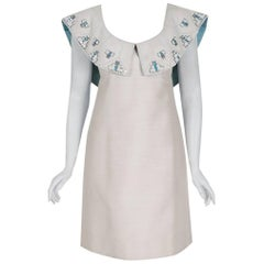 1960's Mr. Blackwell Ivory-Silk Beaded Rhinestone Shawl-Collar Mod Party Dress