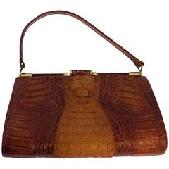 50s Sienna Brown Hornback Alligator Handbag