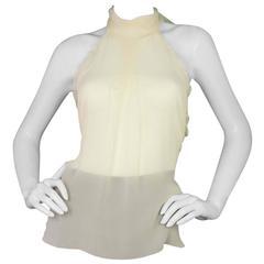 Chanel Sheer Ivory Silk Halter Top Sz 38