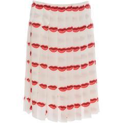 Prada Silk Pleated Lip Print Skirt, Spring - Summer 2000