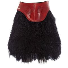 Dsquared2 Ostrich Feather Skirt With Red Perforated Leather Waist, Fall 2008