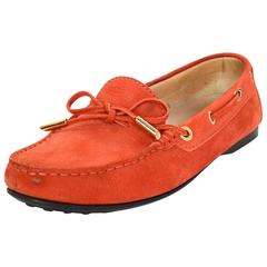 Tod's Orange Suede Riding Loafers Sz 36.5
