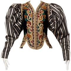 Museum Quality 1980s Vintage Oscar de la Renta Metallic Embroidered Jacket