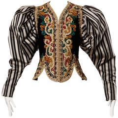 Museum Quality 1980s Vintage Oscar de la Renta Metallic Embroidered Jacket