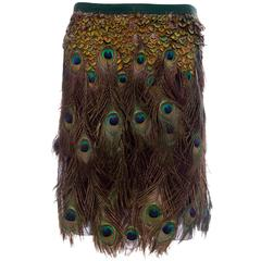 Prada A-Line Skirt With Peacock Feather Embellishment, Spring - Summer 2005