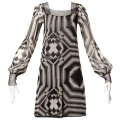 Jean Paul Gaultier Vintage Sheer Mesh Black + White Graphic Op Art Print Dress