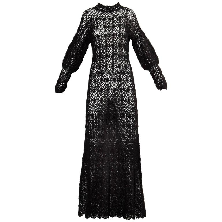 Black Hand Vintage Crochet Maxi Dress, 1970s  For Sale