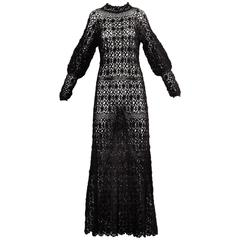 Black Hand Vintage Crochet Maxi Dress, 1970s