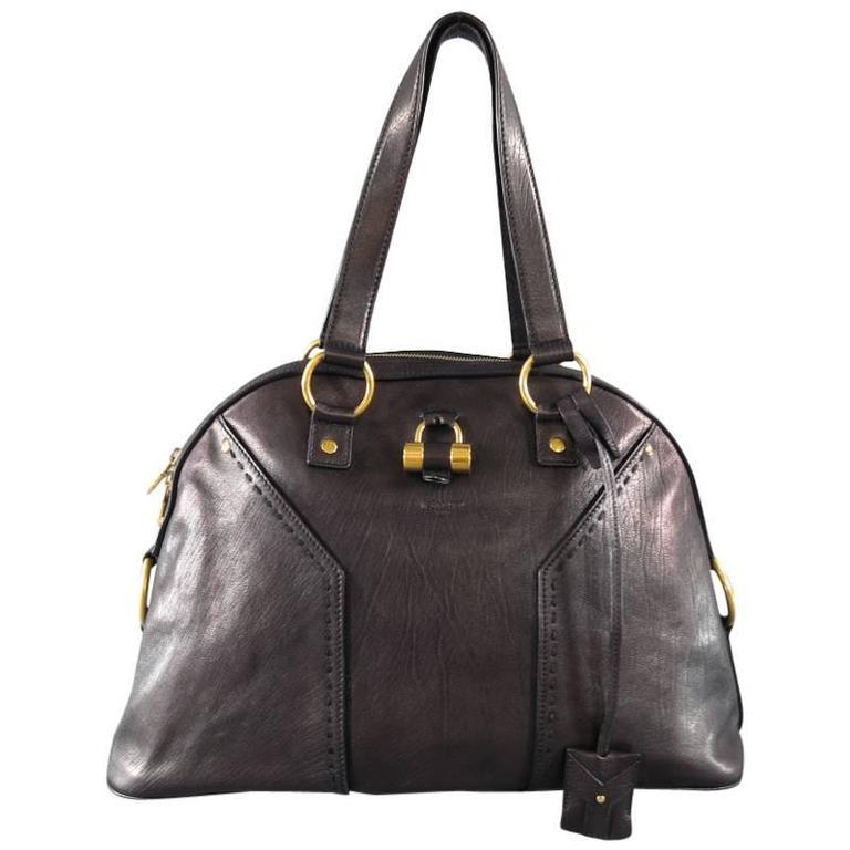 YVES SAINT LAURENT YSL MUSE Black Brown Leather Tote Handbag at 1stdibs e2d4c861128ae