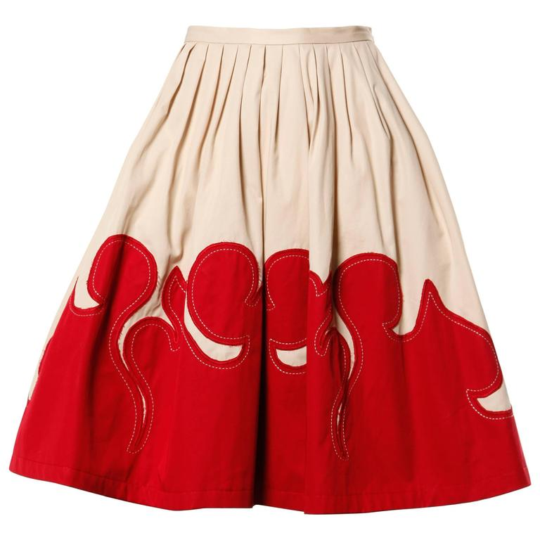 Moschino Vintage Red + Tan Cotton Patchwork Skirt with a Full Sweep For Sale