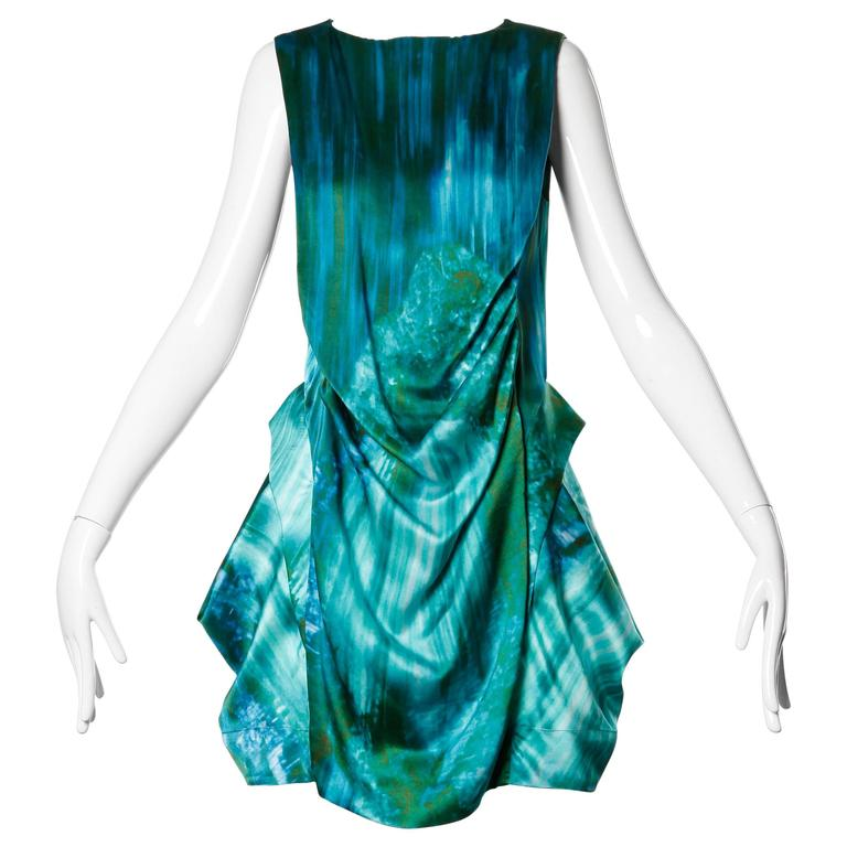 Peter Pilotto Avant Garde Silk Blue Green Watercolor Photo Print Dress 1