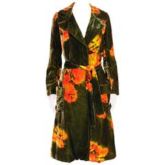 Rare and Important 1960's Halston Tie Dye Velvet Coat Ensemble